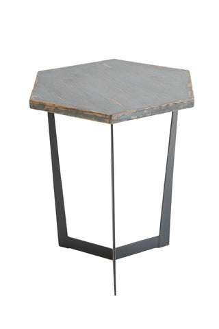 Hex 1212371 Antique Blue Accent Table