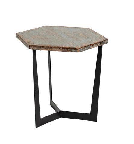 Hex 1212391 Antique Blue Low Accent Table