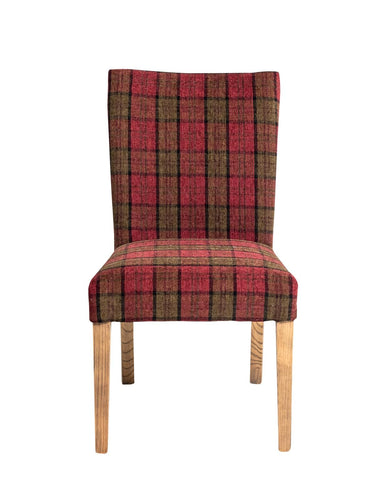 Sasha 1610436 Natural/Cranberry Plaid Dining Chair