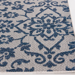 New Zealand 1717EO Modale Ecru/Cobalt Rug Rectangle 6.58 x 9.5
