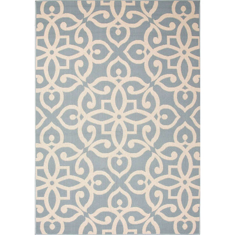 Bloom Blo13 Scrolled Blue Surf Birch Rug