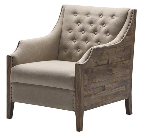 Upholstery CAC-51004 Linen Wood Mabrey Chair