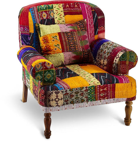 Upholstery CAC-5253 Kantha Patchwork Carline Chair
