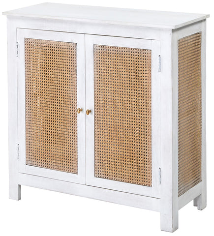 Contemporary Classical CCC-1115 Natural Cane Washed White Hachman 2 Door Cabinet