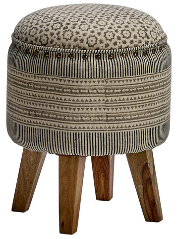 Contemporary Classical CCC-2164 Black/White/Blockprint Askim Accent Ottoman