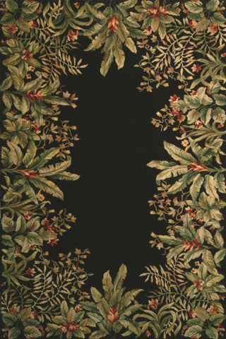 Emerald 9001 Tropical Border Black Rug