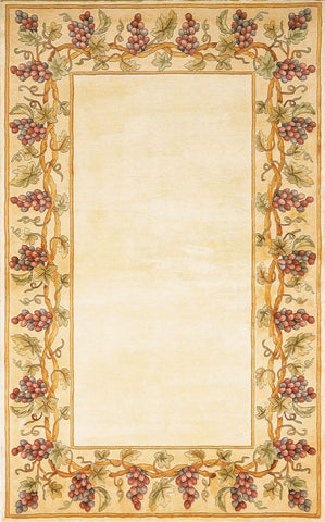 Emerald 9058 Grapes Border Ivory Rug