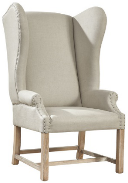 Grand Linen Wingback 91-745F Accent Chair