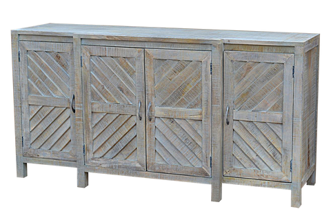 Mango Wood Wire Brush Grey Std-54 Sideboard