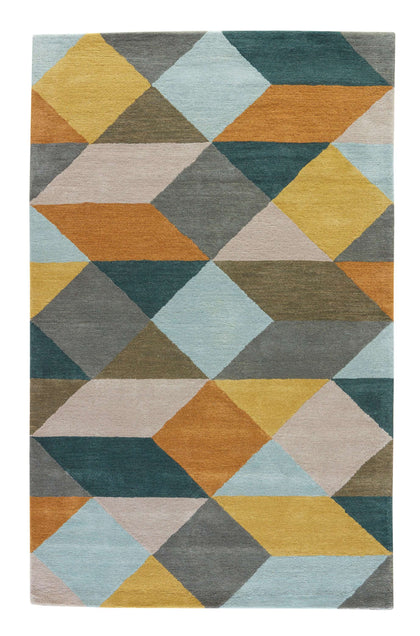 En Casa By Luli Sanchez Tufted LST16 Ojo Gold / Teal Rug