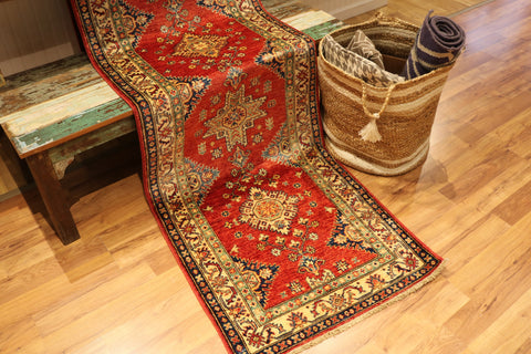 "Reserved Kazak OAK 71547 Multi 2'07"" x 9'03"" Rug"