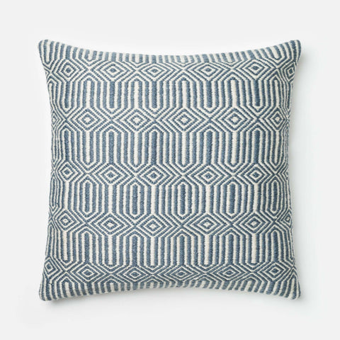 Blue / Ivory Square P0339 Pillow