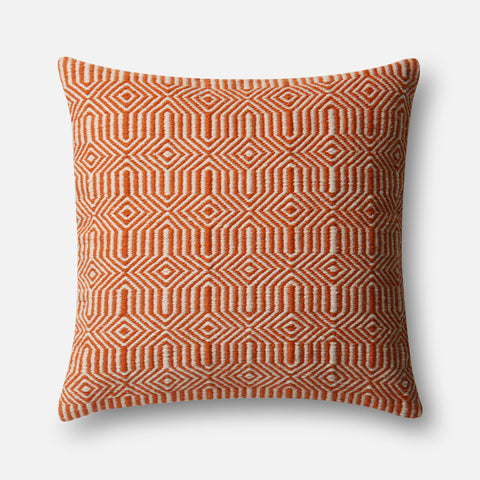 Indoor/Outdoor P0339 Orange/Ivory Pillow