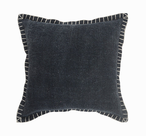 Embroidered Midnight Blue  LR0470 Throw Pillow