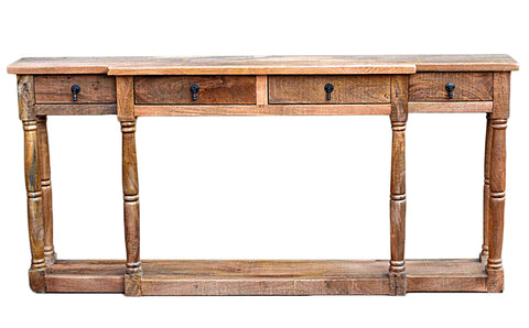 Mango Wood Wire Brush Natural Std-16 Console Table