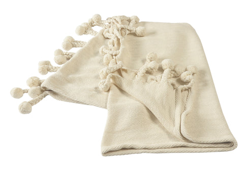 Cream Embroidered Chevron with Braided Fringe LR80181 Throw Blanket