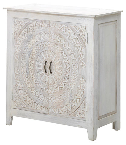 Urban Composition UCS-6631 Washed White Carved Lace 2 Door Cabinet