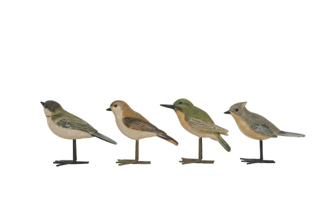 Secret Garden De7663A Resin Birds With Metal Feet Figurines-Set Of 4