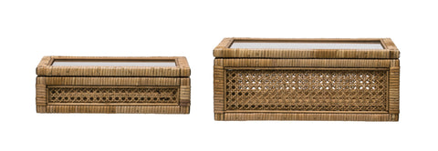 Collected Notions Df2636 Woven Rattan Display Decorative Boxes-Set Of 2