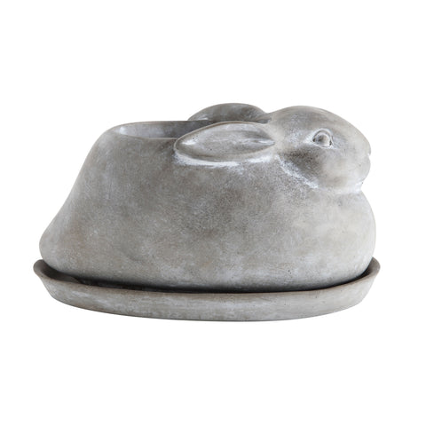 Secret Garden Da7094 Cement Rabbit Planters-Set Of 2 Pieces