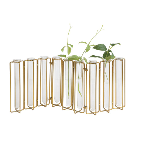 Collected Notions Da8478 Nine Test Tube Glass In Gold Metal Stand Vase