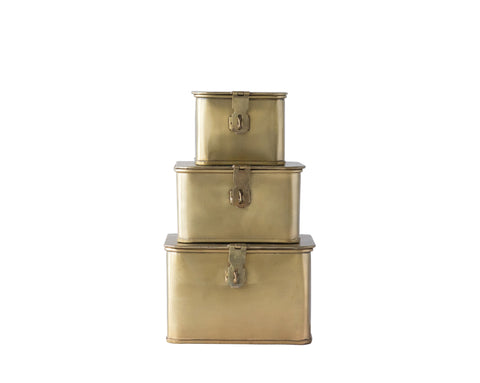 Sanctuary Da9978 Brass Decorative Boxes-Set Of 3