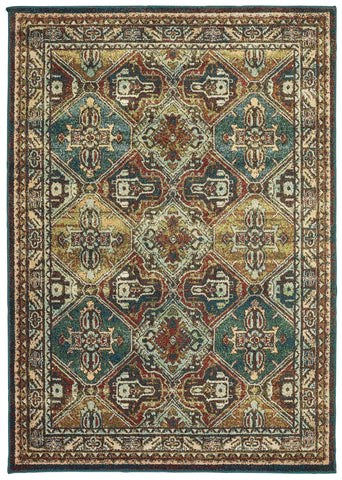Dawson 8527A Teal/ Brown Rug
