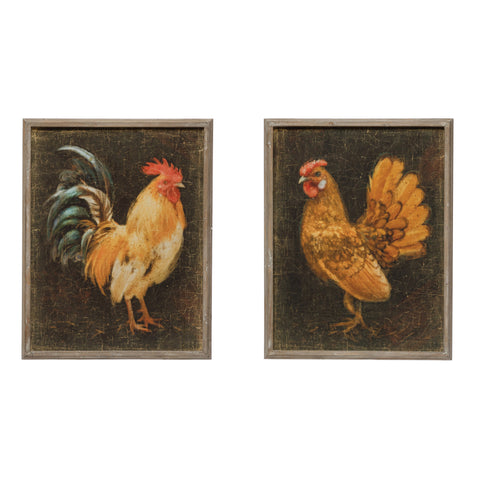 Rustic Country Df4102A Chicken Framed Art-Set Of 2