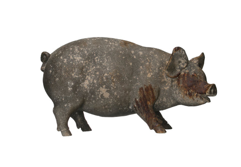 Rustic Country Df2216 Heavily Distressed Magnesia Pig Figurine