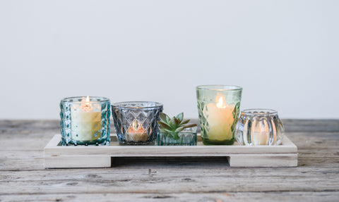 Sanctuary Da9532 Rectangle Wood Tray With 5 Metal Votive Candle Holders-Set Of 5