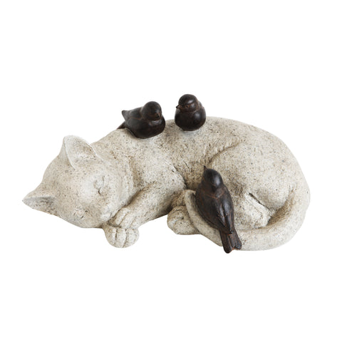 Secret Garden Da7281 Cat Sleeping With Birds Resin Figurine