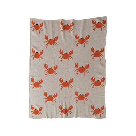 Little One Df3850 Cream/Orange Crab Throw Blanket