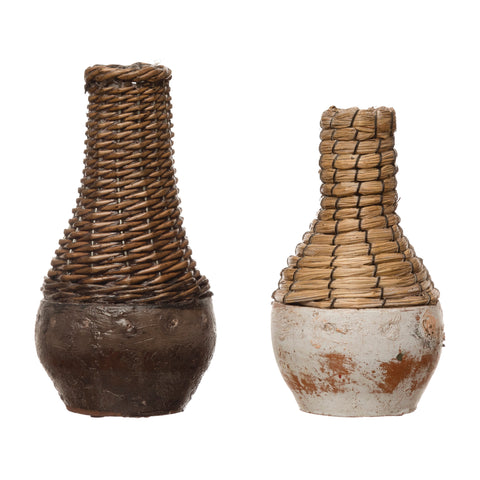 Terrain Df4145A Hand-Woven Rattan & Clay Vases-Set Of 2