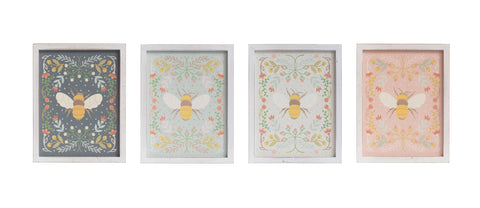 Little One Df2796A Florals & Bee Wood Wall Decor-Set Of 4