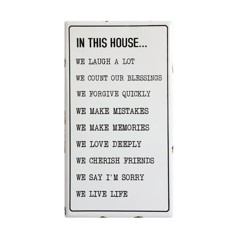 "Urban Homestead Da7669 ""In This House ..."" Enameled Plaque Wall Decor"