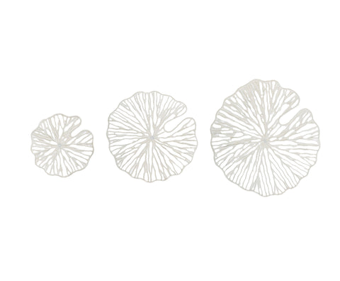 Sanctuary Df1806 Handmade White Coral Shaped Paper & Metal Wall Decor-Set Of 3