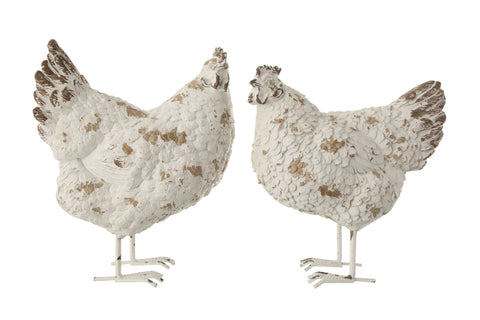 Backyard Farmer Df0910A Distressed White Resin Hen Figurines-Set Of 2