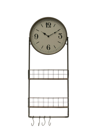 Rustic Country Df2804 Basket And Hooks With Round Metal & Wood Wall Clock
