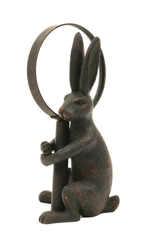 Bits & Bobs Da5140 Pewter Rabbit Holding Removable Hand Magnifying Glass Figurine