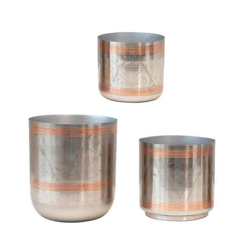 Secret Garden Df3634 Nickel/Copper Engraved Metal Planters-Set Of 3