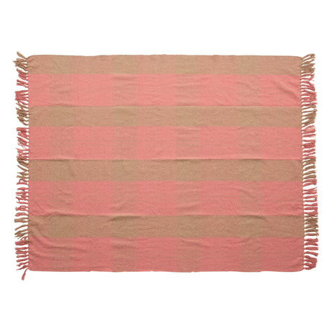 Find & Seek Df4547 Pink/Tan Throw Blanket