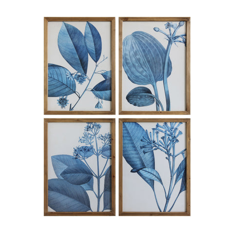 Terrain Da7490A Blue Botanical Framed Art-Set Of 4