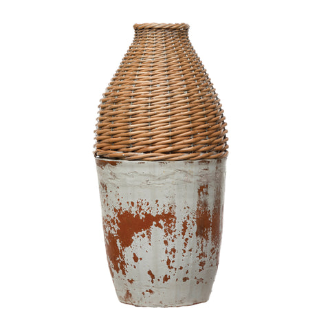 Terrain Df4149 Distressed White Hand-Woven Rattan & Clay Vase