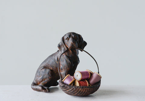 Chateau Da9454 Resin Sitting Dog Holding Basket Figurine
