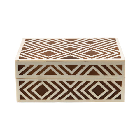 Collected Notions Df4023 Brown/Cream Pattern Inlay Decorative Box