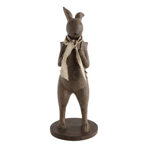 Little One Da6754 Brown Resin Rabbit With Basket Figurine