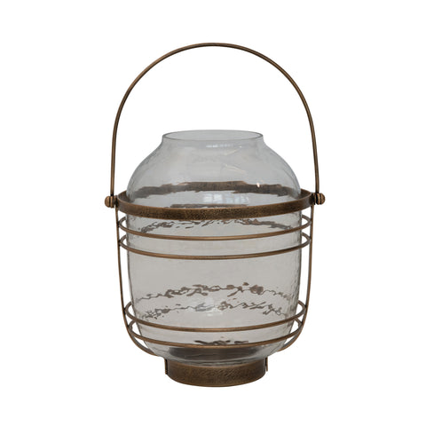 Sanctuary Df3952 Anitque Brass Glass Lantern Candle Holder