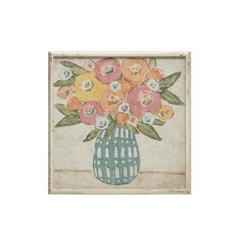 Gallery Df1940 Pink & Yellow Flowers In Vase With Distressed White Wood Framed Art
