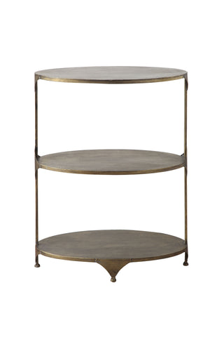 Collected Notions Df1157 Antique Gold Oval Metal 3-Tier Shelf/Side Table Shelves