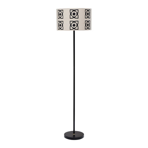 Opal Df4158 Embroidered Linen Shade With Black/White Metal Floor Lamp